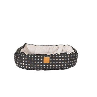 MOG AND BONE 4SEASONS REVERSIBLE CIRCULAR BED BLACK CROSS LARGE