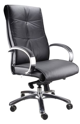 Belair Executive Chair with Arms Black Leather 110kg
