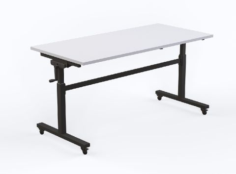 Axis height adjustable flip table 1500 x 750mm White Top