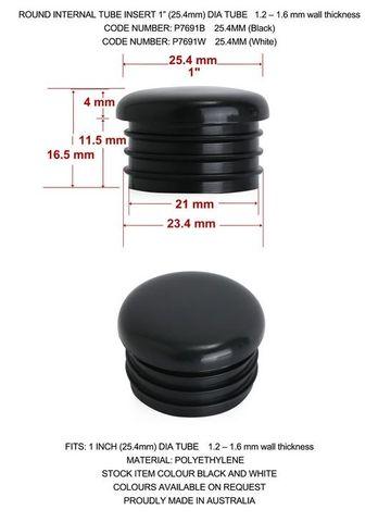 Round internal tube insert, Black