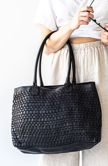 JUJU LEATHER WOVEN TOTE