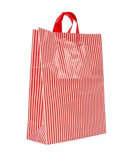 LARGE RED/WHITE MDPE SOFT LOOP BAGS/ EPI