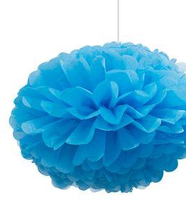 EXTRA LARGE TISSUE POM POMS BLUE