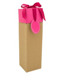 CORRUGATED POP-UP BOTTLE GIFT BOX PINK