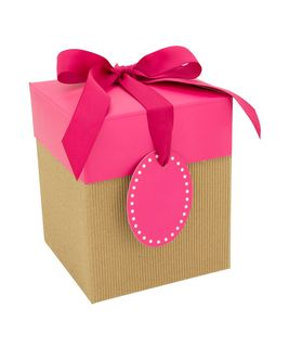 CORRUGATED POP-UP GIFT BOX MEDIUM PINK