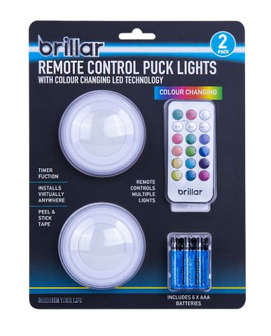 REMOTE CONTROL PUCK LIGHTS 2PK COLOUR