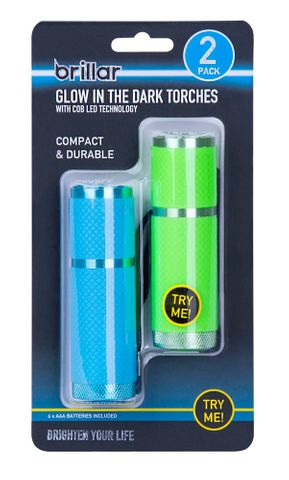 COB LED GLOW-IN-THE-DARK POCKET TORCH 2P