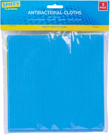 ANTIBACTERIAL CLOTHS 3PK