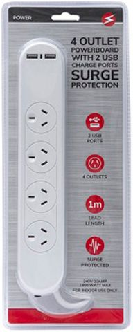 4 OUTLET 2 USB POWERBOARD SP