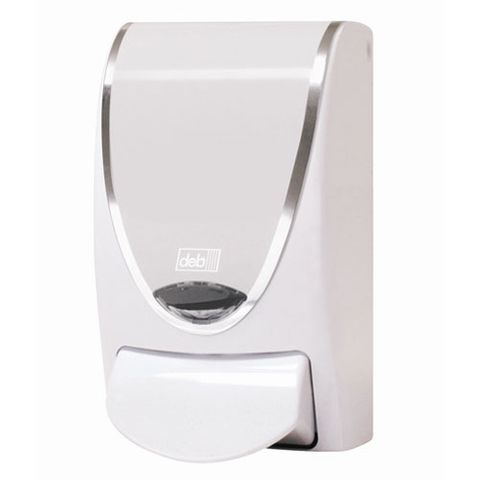 DEB WHITE CHROME BORDER PUSH-STYLE DISPENSER