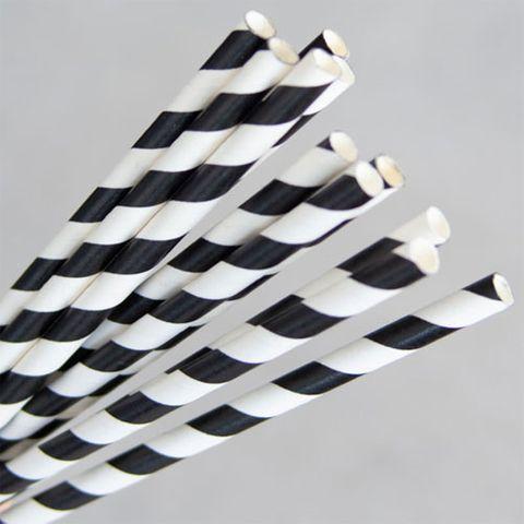 ECO-STRAW PAPER STRAWS - BLACK & WHITE (REGULAR & COCKTAIL)