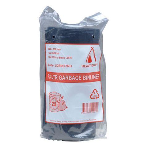 73L BLACK RUB BAG ROLL 30UM (250/CTN)