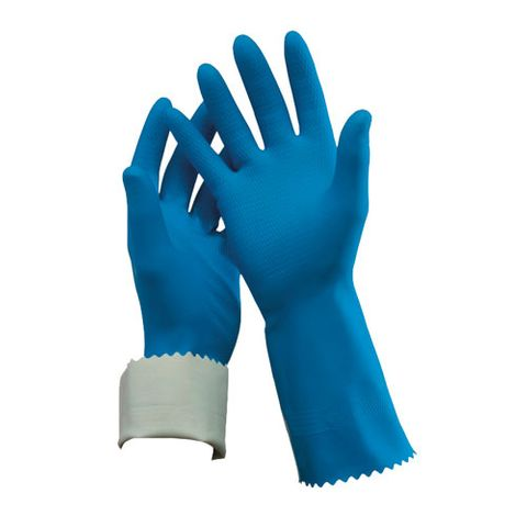 FLOCKLINED RUBBER GLOVE - BLUE