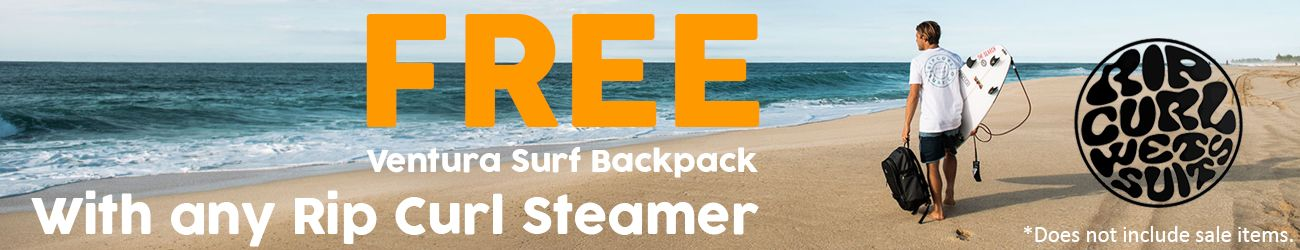 Free Rip Curl Ventura Surf Backpack with any Rip Curl Wetsuit
