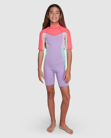 Billabong 202 Teen Synergy Back Zip Short Sleeve Springsuit Bright Orchi