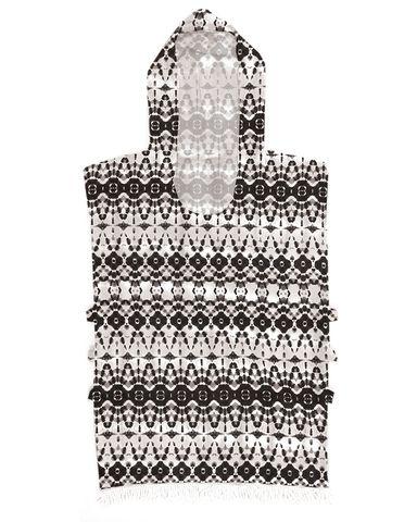 O&e Summer Ladies Hooded Poncho Black