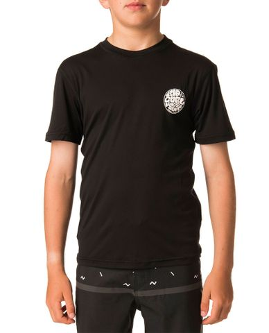 Rip Curl Search Surflite Short Sleeve UV Tee Rash Vest Black