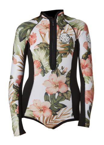Rip Curl Girls G-Bomb Long Sleeve Hi Cut Spring Wetsuit - White Floral