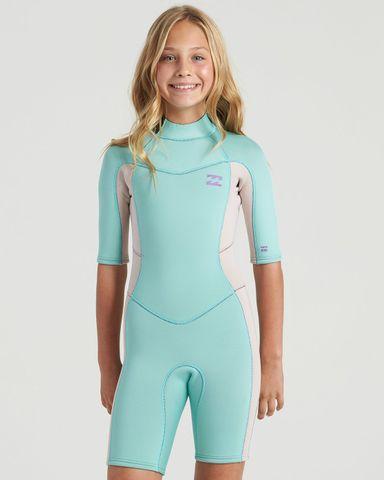 Billabong Teen Synergy Back Zip Short Sleeve Spring Suit - Ice