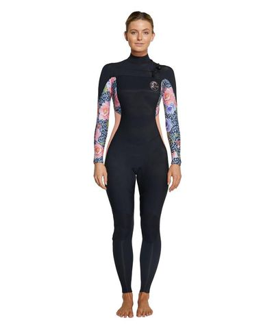 O'Neill Womens Bahia Chest Zip 3/2mm Steamer Wetsuit - Black  Peony