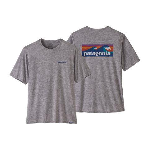 Patagonia Men's Capilene Cool Daily Graphic Shirt - Boardshort Logo - Feather Grey