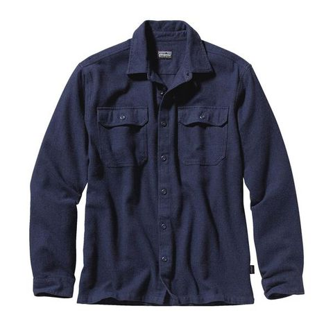 Patagonia Men's Long-Sleeved Fjord Flannel Shirt- Navy Blue