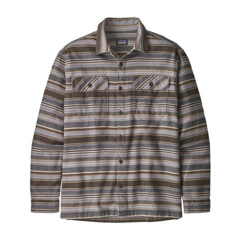 Patagonia Men's Long-Sleeved Fjord Flannel Shirt- Folk Dobby Bristle Brown