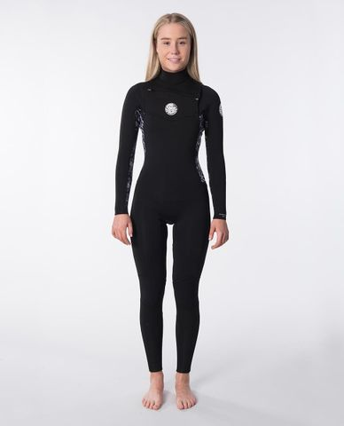 Rip Curl Womens Dawn Patrol 4/3 Chest Zip Steamer- Black Grey