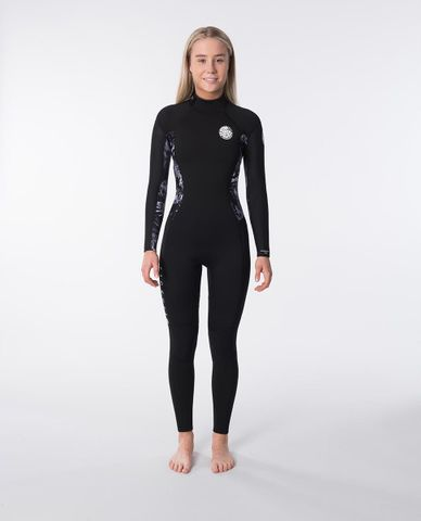 Rip Curl Women's Dawn Patrol 4/3 Back Zip Wetsuit Black/White