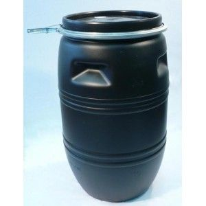 120 LTR DRUM - BLACK, LOCKING LID