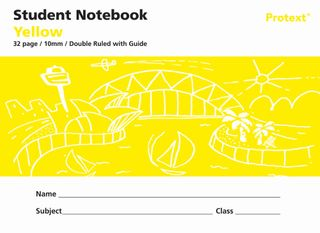 Protext Yellow 32pg 10mm Double Ruled/Guide Student Notebook