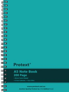 Protext A5 200pg Twin Wire PP Note Book - Aqua