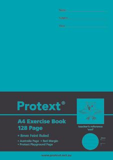 Protext A4 128pg 8mm Ruled Exercise Book
