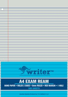 Writer A4 500 Sheet Exam Ream with Red Margin + 1 Hole