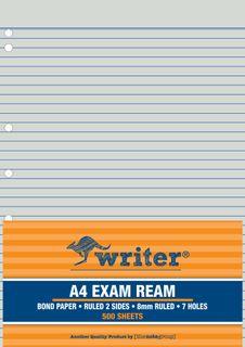 Writer A4 500 Sheet Exam Ream + 7 holes