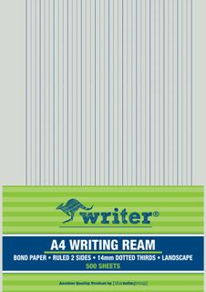 Writer A4 14mm Dotted Thirds Landscape 500 Sheet Ream