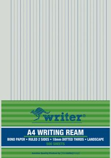 Writer A4 18mm Dotted Thirds Landscape 500 Sheet Ream