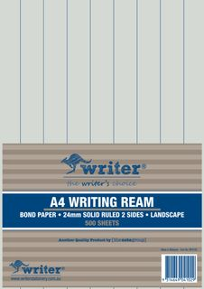 Writer A4 24mm Solid Ruled Landscape 500 Sheet Ream