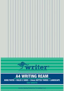 Writer A4 24mm Dotted Thirds Landscape 500 Sheet Ream