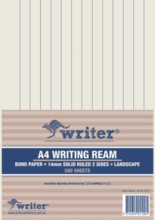 Writer A4 14mm Solid Ruled Landscape 500 Sheet Ream