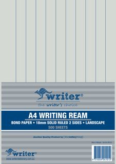 Writer A4 18mm Solid Ruled Landscape 500 Sheet Ream