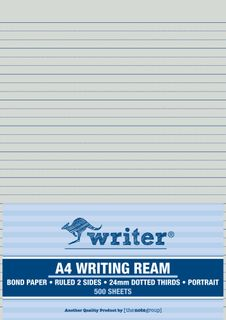 Writer A4 24mm Dotted Thirds Portrait 500 Sheet Ream