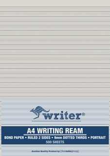 Writer A4 9mm Dotted Thirds Portrait 500 Sheet Ream
