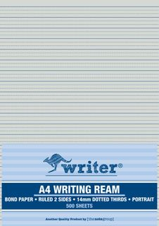 Writer A4 14mm Dotted Thirds Portrait 500 Sheet Ream