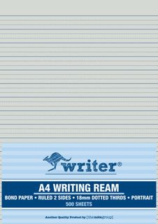 Writer A4 18mm Dotted Thirds Portrait 500 Sheet Ream