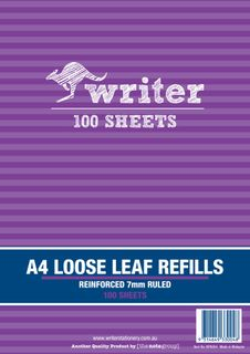 Writer A4 100lf 7mm Ruled Reinforced Refills