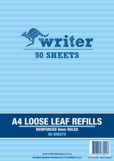 Writer A4 50lf 8mm Ruled Reinforced Refills