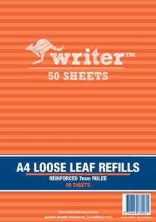 Writer A4 50lf 7mm Ruled Reinforced Refills