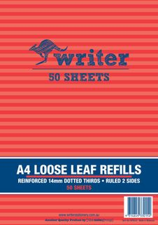 Writer A4 50lf 14mm Dotted Thirds Reinforced Refills