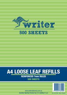Writer A4 500lf 7mm Ruled Reinforced Refills